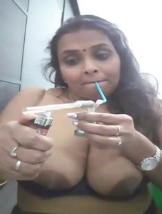 Hot Naughty Bhabhi enjoying hukka nude 2